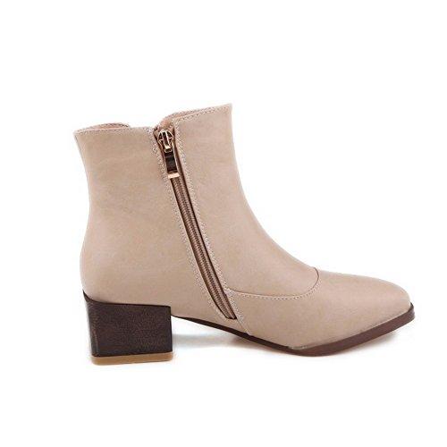 AgooLar Damen Hoher Absatz Rein Reißverschluss Flaum Futter Rund Zehe Stiefel, Aprikosen Farbe, 39