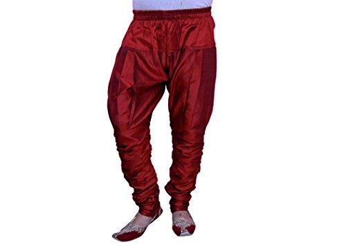 Larwa Men's Dupion Ethnic Pyjama (Larwa02, Maroon)