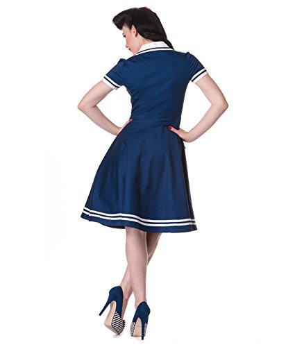 Hell Bunny Seafarer années 50 style MATELOT NAUTIQUE Robe Bleu