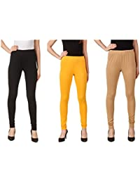 Svadhaa Black Yellow Fawn Cotton Lycra Leggings(Pack Of 3)
