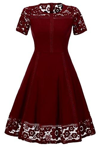Gigileer Femme Robe Rétro Vintage Année 50 Robes de Soirée et de Lace Cocktail Vin rouge