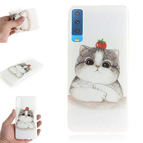 Ooboom Samsung Galaxy A7 2018 Hülle, TPU Silikon Gel Ultra Dünn Slim Schutzhülle Weich Handy Tasche Case Cover für Samsung Galaxy A7 2018 - Katze Tomate