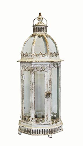 keyhome de bego Alessia Farol Hexagonal de Hierro Blanca con cúpula–D21CM G