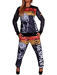 Traje de mujer para correr, entrenamiento, de 100% algodón | con capucha, pantalón de correr | acanalado, con cordón | deportes | S-XXL
