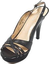NINE WEST - Sandalias De La Correa De Honda De Trasera Mujer NWSTUNNER BLACK Tacón: 10 cm