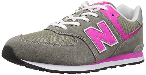 Sneakers Boy Balance Toddler New (New Balance Boys' 574v1 Essentials Sneaker, Grey/Pink, 6 M US Toddler)