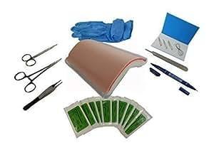 Suturing Doctor - Coussinet pour suture multi-couches avec support, instruments et paquet de 5 sutures mélangées + 1 paquet de 5 sutures offertes