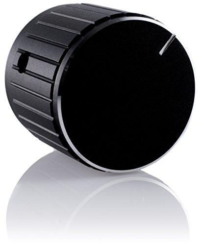 Hifi Lab Poti-Knopf Alu 30x25 Audio Drehknopf Aluminium massiv schwarz 6,35mm Potentiometer Knopf Alu-Knopf