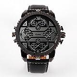 XKC-watches Relojes para Hombres, Oulm Hombre Pareja Reloj de Moda Reloj Casual Japonés Cuarzo Reloj Casual Piel Banda Lujo Moda Negro Marrón (Color : Rojo)