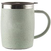 Isenretail Taza de Escritorio, Taza térmica del café, Pared Doble de Acero Inoxidable 304, Taza de té de Agua de Escritorio para la Oficina de la Escuela con Tapa, 420ML