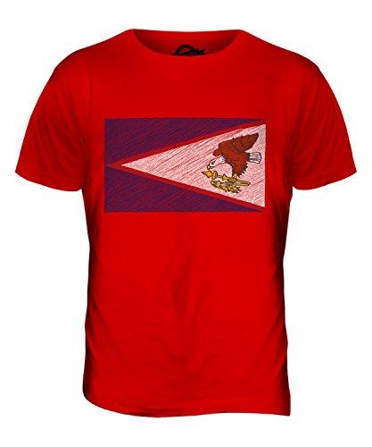 CandyMix Amerikanisch-Samoa Kritzelte Flagge Herren T Shirt Rot