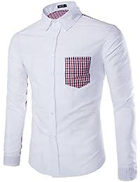 YL - Camisa casual - con botones - cuello mao - para hombre