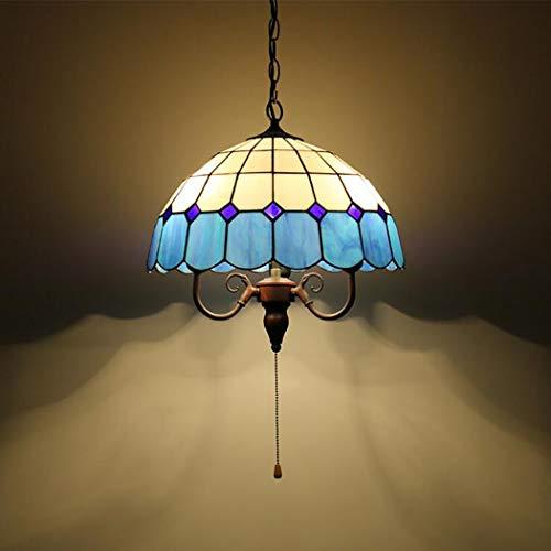 Colgante a cuadros azul y blanco mediterráneo Tiffany Light Estilo victoriano Techo de 3 luces Colgante de accesorio Cadena de tiro Cristal de araña