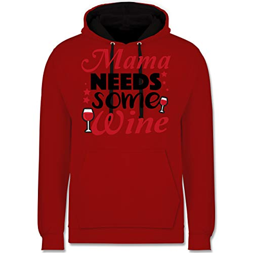 (Statement Shirts - Mama Needs Some Wine Rotwein - XXL - Rot/Schwarz - JH003 - Kontrast Hoodie)