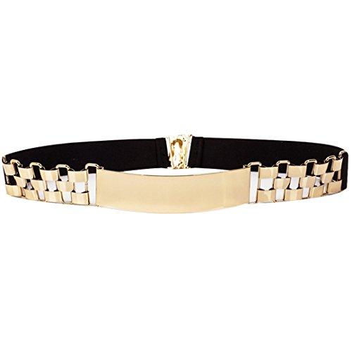 AiSi Damen spiegelter Fashion Metall Gürtel Kettengürtel Taillengürtel Hüftgurt,Ideal für Kleid, Schwarz -