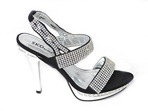 Sko's Sandales de soirée à talon haut à strass Tailles 36 37 38 39 40 41 Black (8551-8)