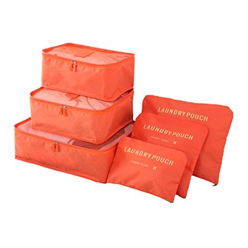 Koffer Organizer Reise Kleidertaschen, EASEHOME 6 Stück Wasserdichte Kofferorganizer Packtaschen Reisegepäck für Kleidung Schuhe Unterwäsche Kosmetik, Orange