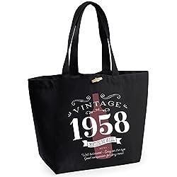 Tasche mit Aufdruck 1958, lustige Geschenkidee für Damen zum Geburtstag, als Einkaufstasche zu verwenden, stabile Markenqualität, Textil, Schwarz , Large