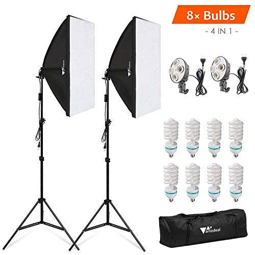 Amzdeal Softbox Kit Fotografía 8 Bombillas 135W