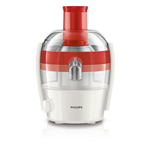 Philips HR1832/40 Viva Collection Entsafter 400 W, 1,5 L in einem Durchgang, schnelle Reinigung, rot / weiß