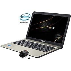 ASUS VivoBook Ordinateur Portable 15.6 HD LED, Intel Dual Core , RAM 4 Go, Disque Dur 500 Go, Complet de Windows 10 Professional ,avec souris libre (Clavier QWERTY italien)