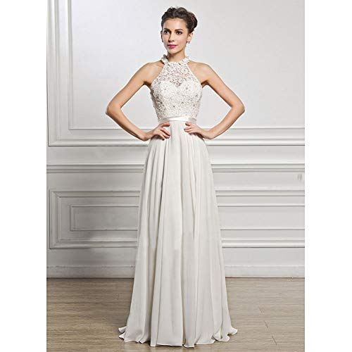 Neckholder Brautkleider (XDDQ Abendkleid Ärmelloses Neckholder Brautkleid Badeort Strandkleid Ärmelloses Kleid)