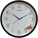 Oreva Ajanta Quartz Wooden Look Plastic Round Shape (28 Cm X 28 Cm) Wall Clock For Home And Office (D Wood) - 193