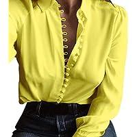 Geili Frauen Casual Basic Solid Color Shirt Damen Langarm Button Umlegekragen T-Shirt Bluse Tops preisvergleich bei billige-tabletten.eu