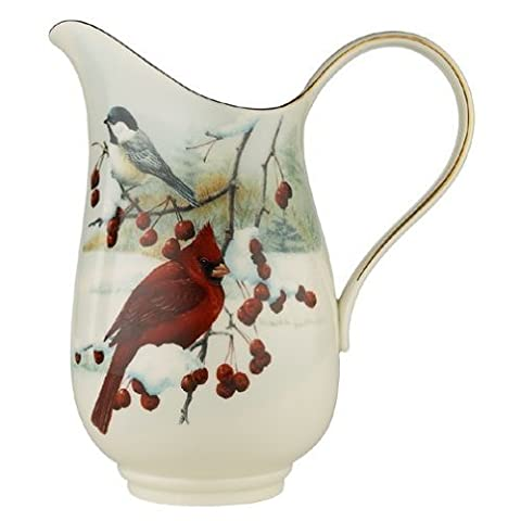 Lenox Winter Greetings Scenic Gold-banded Fine China Pitcher