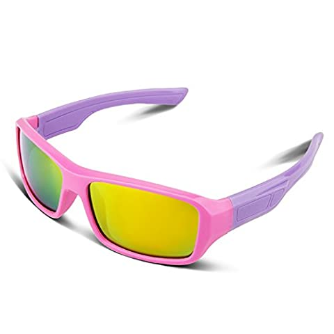 RIVBOS RBK033 Rubber Flexible Kids Polarized Sunglasses Age 3-10 (Rectangle Pink Coating Lens)