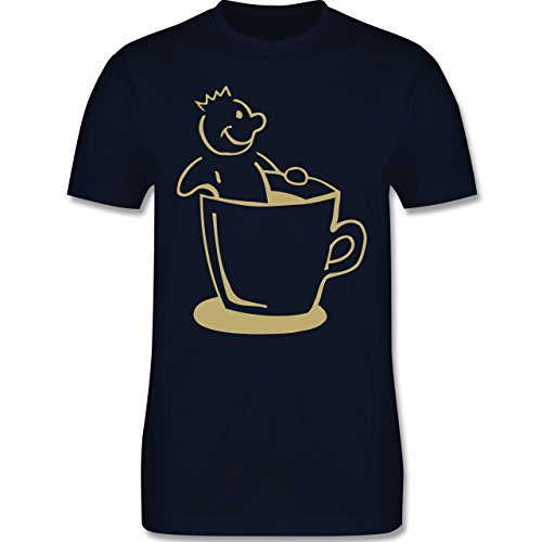 Küche - Kaffee König - Herren Premium T-Shirt Navy Blau