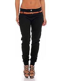 malito Chino-Pantalones con Cinturón por imitación de cuero Bombacho Pitillo Lady-Fit 5396 Mujer