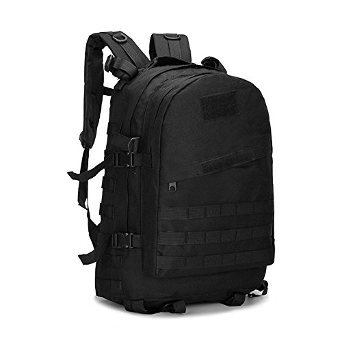 Sound Vision 40L Outdoor Military Tactical Backpack Rucksack School Bag with Molle System for Hiking Camping Sports Black