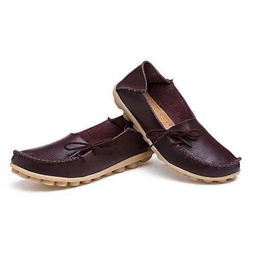 Femmes cuir synthétique mocassins mocassin ultra-doux bottes en cuir chaussures plat chaussures fermées brown
