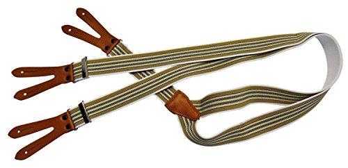 Karl Teichmann Pattenhosenträger mit 3 Leder-Patten zum Knöpfen, Beige/dünne Streifen -