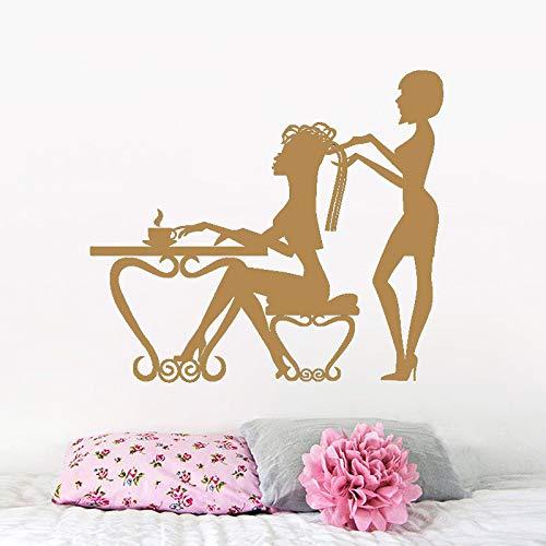 Abnehmbare Beauty Salon Shop Dekorative Vinyl Wandtattoo Friseur Selbstklebende Aufkleber Kunst Geschwungene Tapete kaffee 57X65 CM -