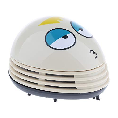Homyl Mini Tisch Staubsauger aus Kunststoff, Elektrischer Staub Reiniger für Haus und Büro (Batteriebetriebe) - Weiß - Abd-batterie