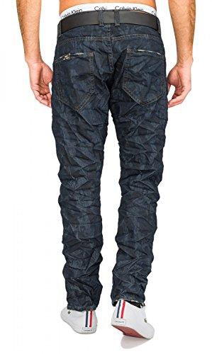 Herren Jeans · (Slim Fit) Dunkle Jeanshose, zerknitterte Blue Jeans Stretch Crinkle Used Denim, dezenter Camouflage Print · H1677 in Markenqualität Dunkelblau