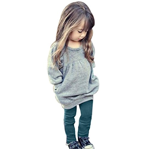 Sannysis Kind-Mädchen-Outfit Kleidung Warm Langarm-T-Shirt + Long Pants (90, Grau)