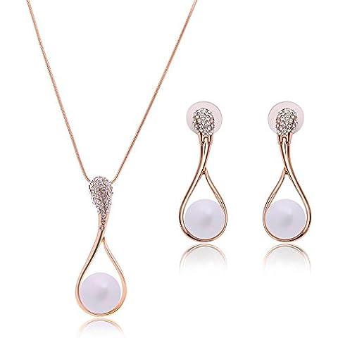 Collana di perle goccia con Vintage CZ -14 K placcato oro - grande damigelle d'onore (Madri Cuore Collana)