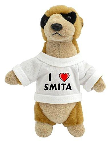 Preisvergleich Produktbild Personalisiertes Erdmännchen Plüsch Spielzeug mit T-shirt mit Aufschrift Ich liebe Smita (Vorname/Zuname/Spitzname)