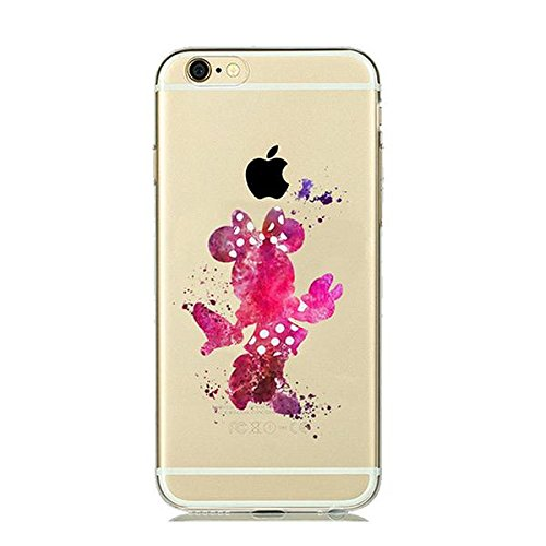 Disney Minnie Maus Schutzhülle Appel Iphone Serie TPU transparent Silikon Case Appel Iphone Cartoon Hülle -AcAccessoires #0034 (Iphone 6/6S)