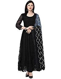 Ethnic Empire Women's Georgette Alia Bhatt Kalank Embroidery Party Wear Salwar Suit (Black, Free Size)