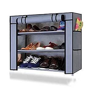 Ebee Shoe Rack with 3 Shelves (Grey)