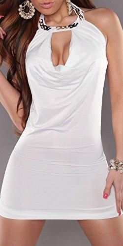 Mini robe sexy à nouer dans le cou avec chaîne, plissés koucla by in-stylefashion sKU 0000a 12–1072 Blanc - blanc