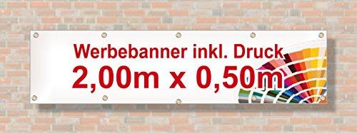 PVC Banner / Werbebanner / Werbeplane   2m x 0,5m   inklusive Saum und Ösen   brillanter Druck - besonders stabil - wetterfest   510g/m²   einseitig mit Ihrem Motiv bedruckt