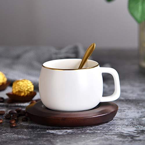 Kreative Kaffeetasse Dish Löffel Tee-SetTeetasseSetHandbemalteGold Keramik Paar Becher Weiß250ml