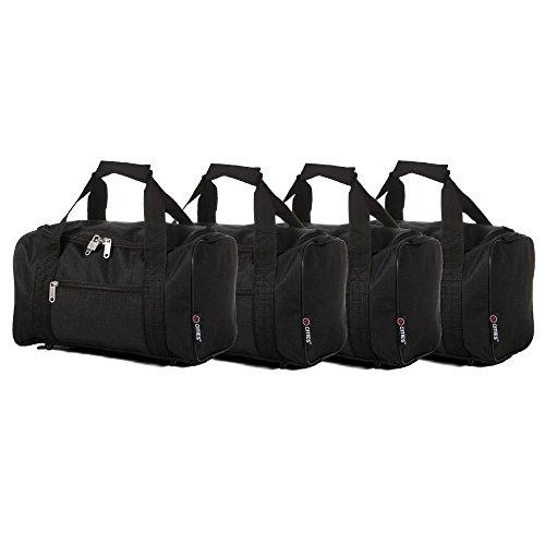 5 Cities Klein 35 x 20 x 20 cm Ryanair zweite Kabine Handgepäck Holdall Flight Bag, Schwarz Set von 4 (Schwarz)