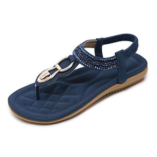 SANMIO Damen Sandalen Flach Sommerschuhe Frauen PU Leder Bohemian Sandals Elastischen Strand Schuhe Zehentrenner Pu-frauen-schuhe