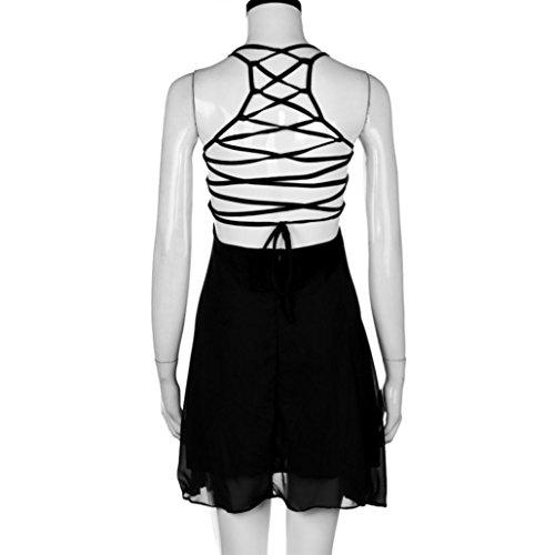BZLine® Frauen-Party-Cocktail-Backless-Bandage Ärmelloses Minikleid Beach Kleid Schwarz